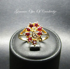 14K Gold 14ct Gold Ruby and Diamond Cluster Ring Size M 2.5g