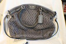 COACH 18634 Gray Madison Nylon Quilted Lindsey Satchel Handbag 70th Anniversary