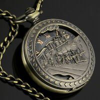 Mens Pocket Watch Mechanical Black Dial Skeleton Retro Chain Hand-winding Luxury