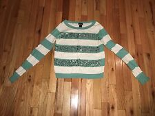 Sz S ladies WET SEAL striped long sleeve thin cotton silver sequin thin sweater