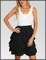 NEW Ivory/Black Women's Dress Sleeveless Club/Casual Dress. S-M-L US Store