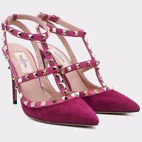 VALENTINO 995$ Camelia Suede Rockstud Ankle Strap High Heel Pumps