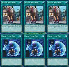 3 X Where Arf Thou + 3 X Unexpected Dai 1st Mint YUGIHO LDK2