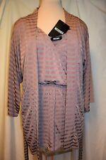 Missguided 2 Pc Set/Romper/Belted Kimono Jacket-Copper/Cocoa Stripe-8-UK Mde-NWT