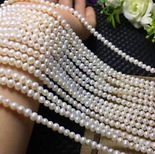 "Genuine 6-7mm Natural White Freshwater Pearl Loose Beads Strand 15"" AAA"
