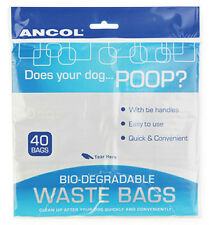 ANCOL 1 X 40 PACK DOG PUPPY WALKING POO POOP WASTE BLACK BAG BIO-DEGRADABLE