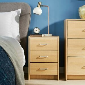Oak Bedside Cabinet 3 Drawer Side Table Night Stand Metal Runners Seconds