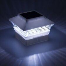 "12 PACK Solar Power Post Cap LED Light, White, 4x4"" Square Outdoor Mount 4-inch"