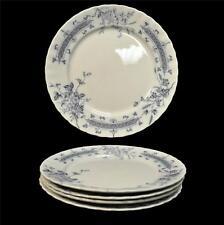 4 Vintage W H Grindley England Athena Ironstone  Flow Blue Floral Salad Plates