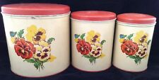 Vintage Parmeco Pansy Pansies Metal Canisters 3 Pc Nesting Set 1950s Red Lids