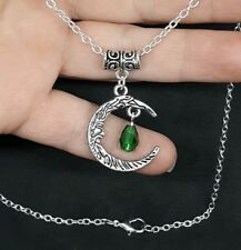 MOON PENDANT & GREEN CRYSTAL CHARM NECKLACE
