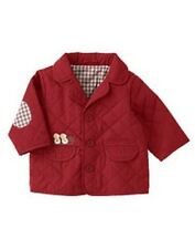 GYMBOREE HOLIDAY FRIENDS RED QUILTED w/ PENGUINS JACKET 0 3 NWT