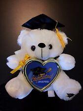 "Graduation Teddy Bear 8"" tall w/ Cap & diploma heart picture frame"