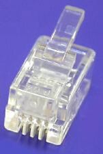 100 X RJ11 4P4C Modular Headset Plug Telephone Phone Connector Jack Crimp End