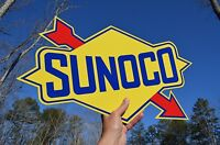 "OLD STYLE LARGE 18"" SUNOCO MOTOR OIL DIECUT ARROW THICK STEEL SIGN MADE IN USA"