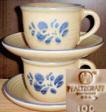 Pfaltzgraff FOLK ART 4 Pcs Cup & Saucer 2 Sets Brown Blue Floral