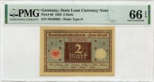 GERMANY 2 MARK 1920 STATE LOAN CURRENCY NOTE PICK 60 VALUE $256