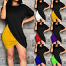 Women Short Sleeve Crew Neck Wrap Dress Bodycon Stretchy Club Wear Party Dresses