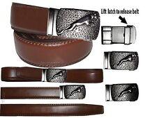 Men's Belt Jaguar Leather Belt Dress/casual Sliding buckle Size up to 50 inches