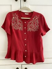 AMAZING RED COLLETTE DINNIGAN 100% SILK EMBROIDERED TOP BLOUSE M UK 10-12 £175