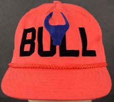 Bull Felt Lettered Red Baseball Hat Cap and Adjustable Strap