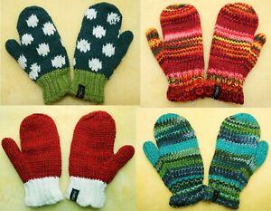 Kinder Schafwolle Fausthandschuhe rosa blau Fleece Futter Winter Woll Handschuhe