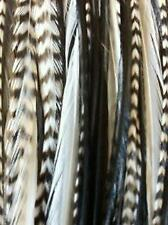 4-6 Genuine Grizzly Black & White Zebra Feathers for Hair Extensions Bonded Toge