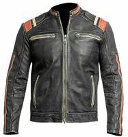 Men's Retro 3 Cafe Racer Biker Vintage Motorcycle Distressed Leather Jacket