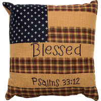 PATRIOTIC PATCH BLESSED Pillow Flag Americana Psalms Red/Khaki/Navy 10x10 VHC