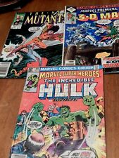 Marvel Comic Lot of 3 The New Mutants, The 3-D Man, The Incredible Hulk 1981-87
