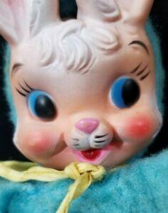 "Vtg Musical Plush CUTE 10"" BUNNY RABBIT Rubber Face RUSHTON My-Toy PLAYS MUSIC"