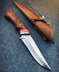 HANDMADE COLLECTIBLE VG10 DAMASCUS HUNTING KNIFE CAMPING SURVIVAL FIXED BLADE