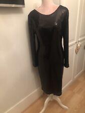 Black Sequin Gina Bacconi Dress UK 14 Long Sleeve