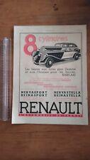 PUBLICITE ANCIENNE PUB ADVERT - RENAULT 8 CYLINDRES - 1934