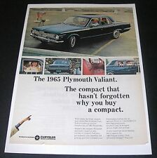 Print Ad 1965 Chrysler PLYMOUTH Valiant Blue 4-door Drive-in Theater Vintage