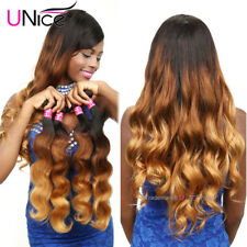 "UNice 8A Thick Indian Ombre Body Wave Human Hair 3 Bundles 18"" T1B/4/27 300G US"