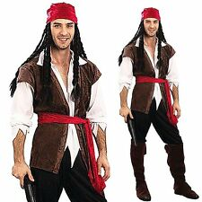 Captain Jack Sparrow Pirates of the Caribbean Halloween Party Mens Fancy Costume