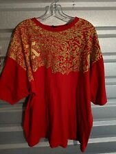 VINTAGE Karl Kani Gold Mens Shirt Red Gold Graphic Size 3XL XXXL Adult Tee 90s