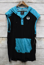 Modern Culture Mens 4XB Black & Teal Slim Fit Hooded Tank Shirt New