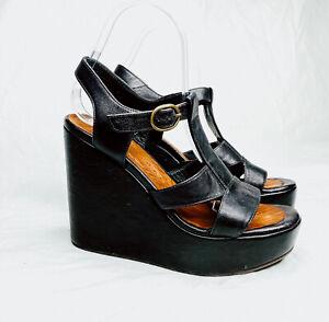 Chie Mihara Mandy Anthropologie size 37 wedge platform buckle open toe black bro