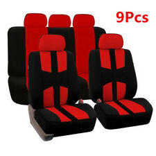 Universal Polyester Black+Red Car Seat Cover Car Full Styling Seat Cover W/Hooks