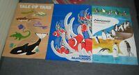 "3 Vintage SEA WORLD 1979-80 1981 1983-84 Program Poster 34""x22"" San Diego Rare"