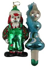 Polonaise Raggedy Andy Clown Feather Lady Glass Christmas Ornaments