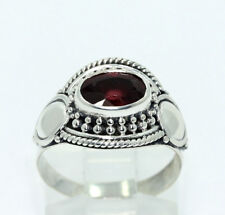 Sterling Silver Oval Natural Ruby Beaded Rope Detail Ring .90 CT. Size 5.75