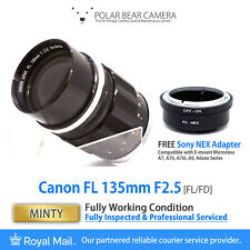 ⭐SERVICED⭐ CANON FL 135mm F2.5 Fast Prime + Sony E-mount FE Adapter [MINTY]