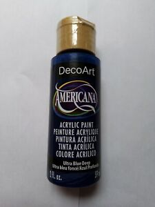 Ultra Blue Deep Americana Acrylic Paint By DecoArt. Size 59ml 2fl.oz