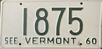 1960 Vintage Vermont License Plate White with Dark Green Numbers & Letters #1875