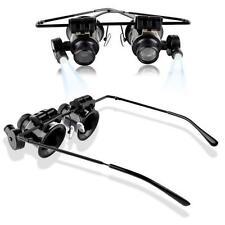 Eye 20x Magnifying Magnifier Glasses Loupe Len Jeweler Watch Repair LED Light LJ