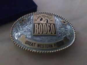 RODEO TROPHY BUCKLE ~ GREAT WESTERN FORUM GP/SP WITH TOURMALINE/ IN BOX