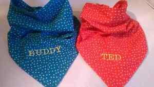 Dog Bandana Personalised Tie Style  Dog Bandana Neckerchief twin layered fabric